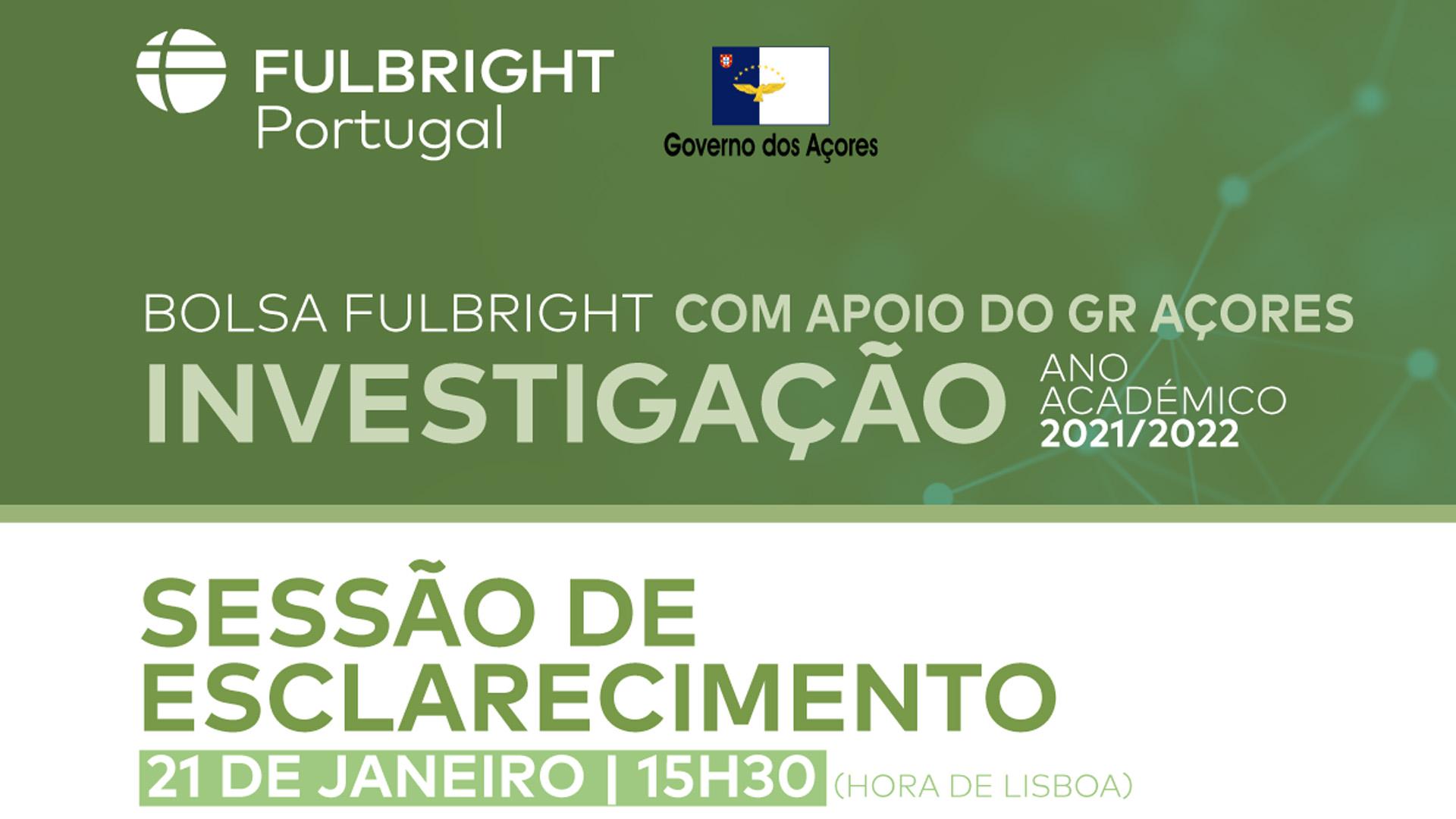 Edição de bolsas Fulbright para o ano letivo de 2021-2022 - cartaz