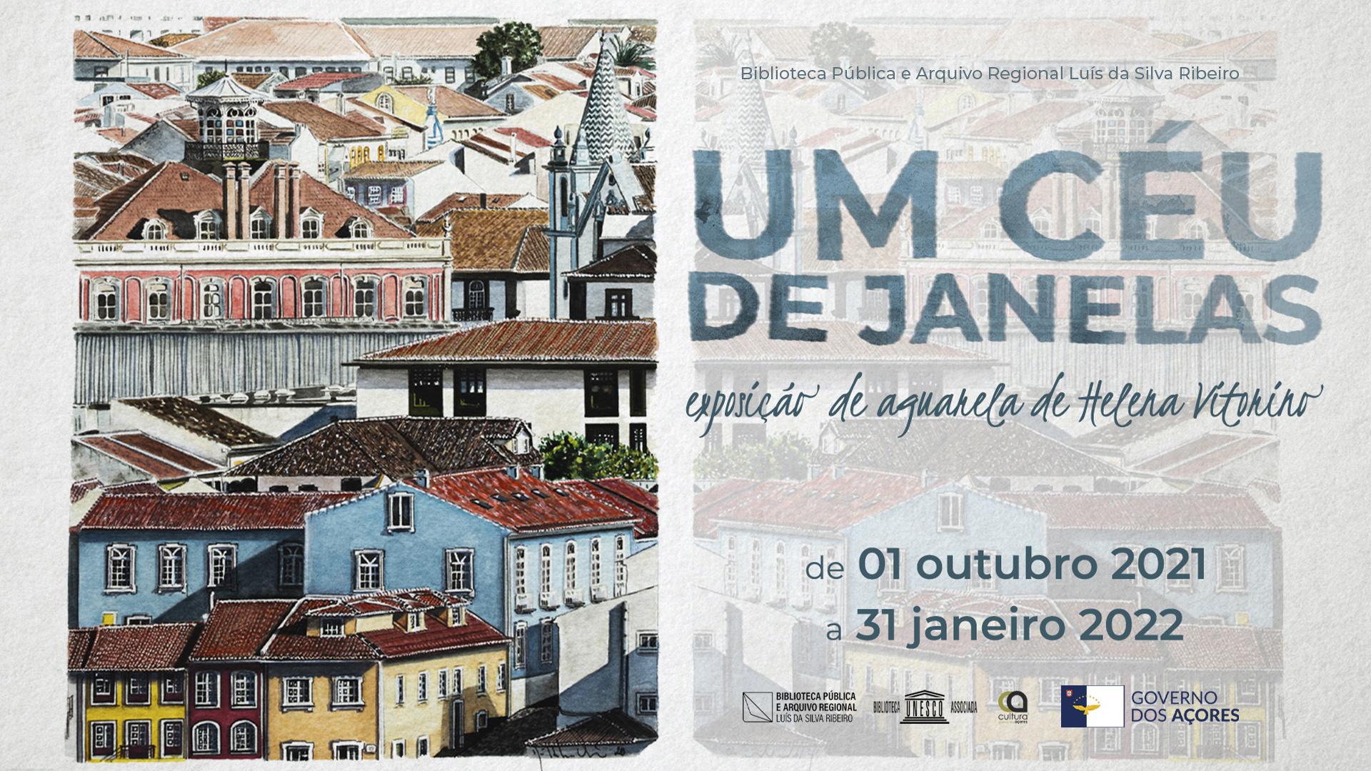 """""""Um Céu de Janelas"""" em exposição na Biblioteca de Angra - cartaz"""