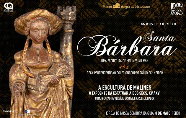 """Apresentação da escultura """"Santa Bárbara"""" - cartaz"""