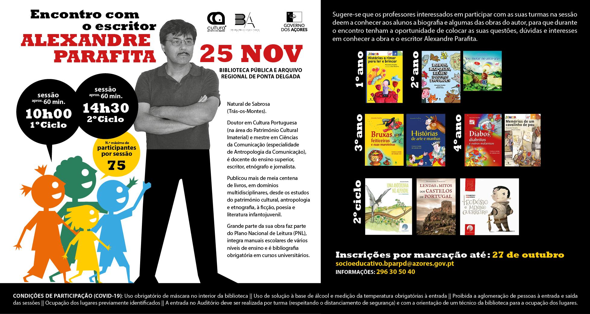 Encontro com o escritor Alexandre Parafita na Biblioteca Pública de Ponta Delgada - Cartazz