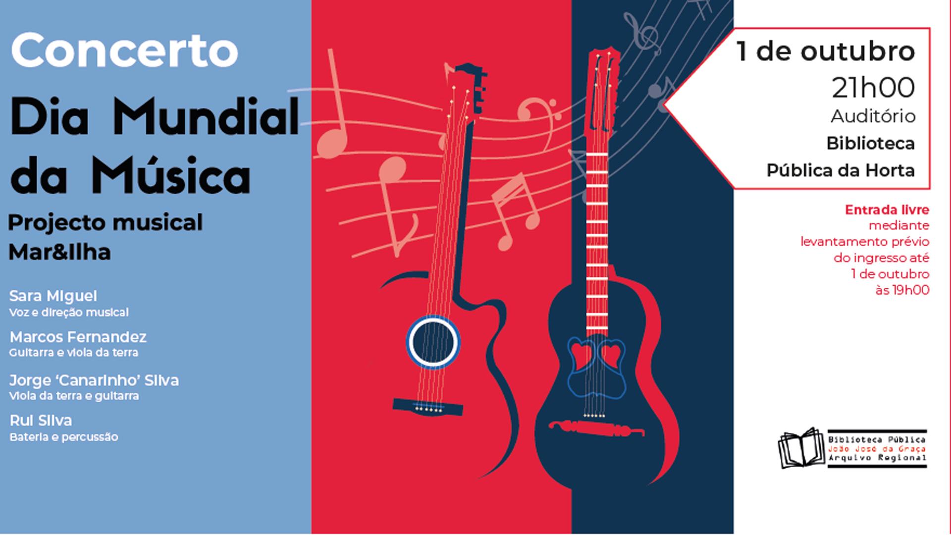 Projeto musical Mar&Ilha na Biblioteca Pública da Horta - CARTAZ